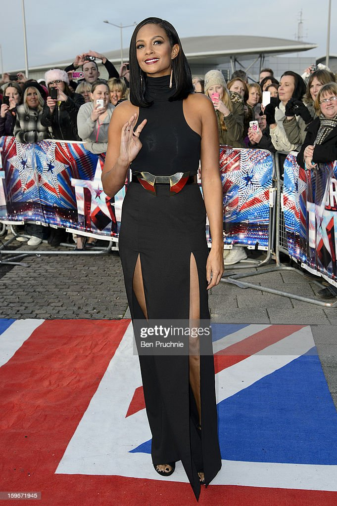 Alesha Dixon arrives for the 1st day of judges auditions for 'Britain's Got Talent' at Millenium Centre on January 16, 2013 in Cardiff, Wales.