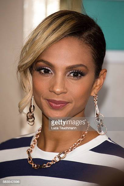 Alesha Dixon arrives for the opening night of Breakfast at Tiffany at Theatre Royal on July 26 2016 in London England