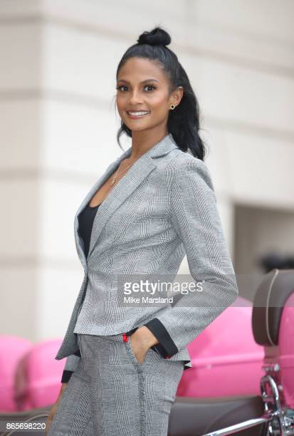 Alesha Dixon celebrates becoming the Debenhams Beauty Club ambassador at The Lanesborough Hotel on October 24, 2017 in London, England.