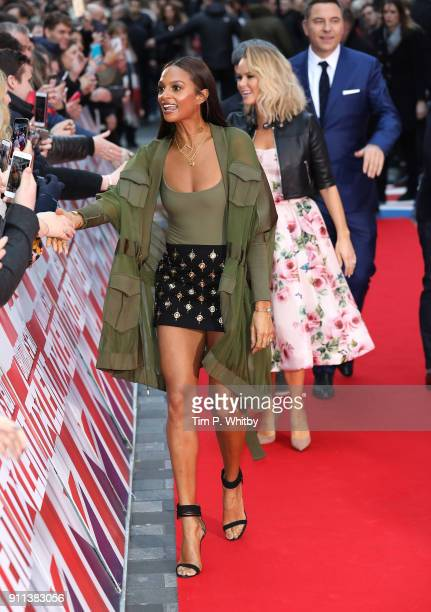 Alesha Dixon followed by Amanda Holden and David Walliams attend Britain's Got Talent London auditions at London Palladium on January 28 2018 in...