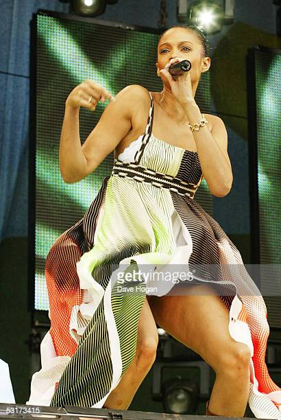 Alesha Dixon from Misteeq performs on stage during Capital FM's Party in the Park 2002 in Hyde Park London on the 7th of July 2002