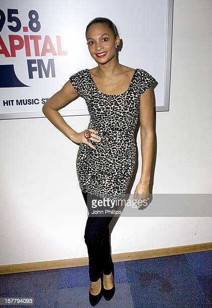 Alesha Dixon Helps To Launch The The Capital Christmas Appeal In Aid Of Help A London Child On Capital Fm At Global Radio Studios In Central London