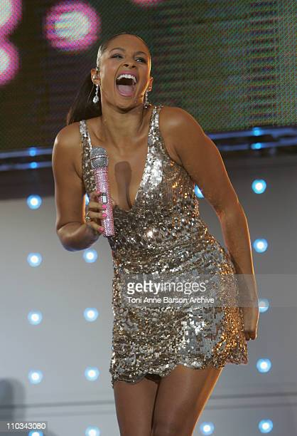 Alesha Dixon performs at the France 2 Live Show ' Fete de la Musique' in the Bagatelle Gardens on June 21 in Paris France