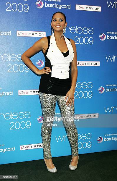 Alesha Dixon poses in the press room at Wireless Festival in Hyde Park on July 5 2009 in London England