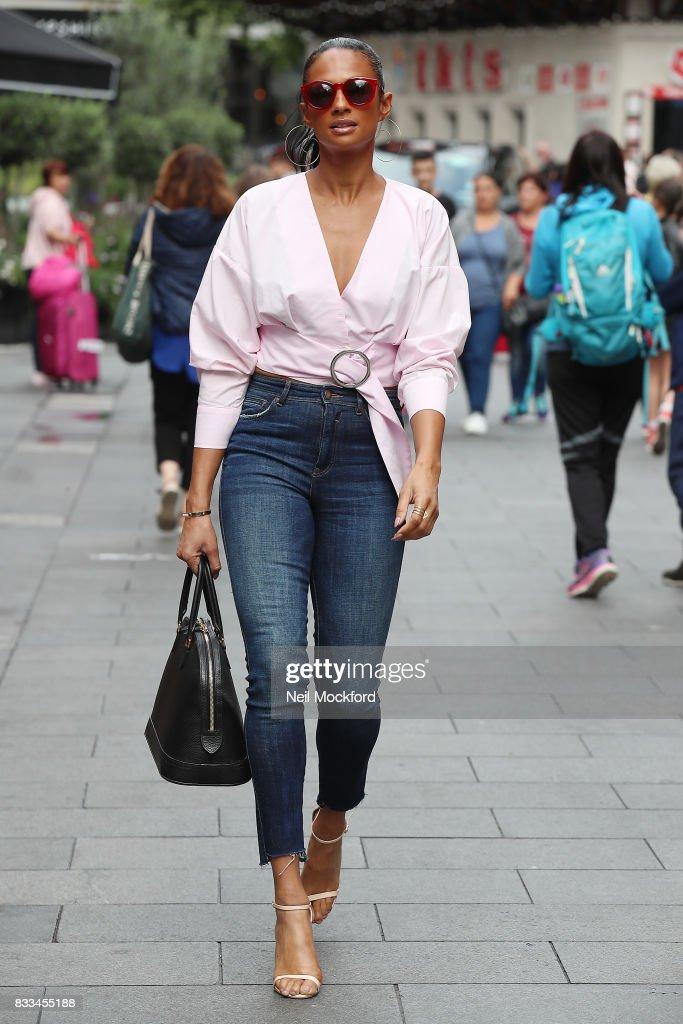 Alesha Dixon seen leaving Capital Radio Studios on August 17, 2017 in London, England.