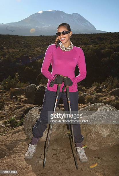 Alesha Dixon smiles as she treks up Kilimanjaro on the second day of The BT Red Nose Climb of Kilimanjaro on March 1 2009 in Arusha Tanzania...