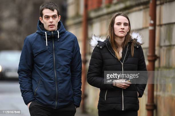 Alesha MacPhail's father Robert MacPhail and his girlfriend Toni Louise McLachlan arrive at Glasgow High Court on February 12 2019 in Glasgow...