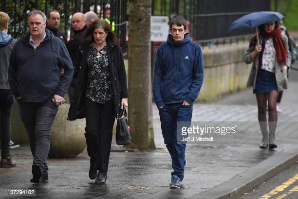 Alesha MacPhail's father Robert MacPhail arrives Glasgow High Court with grandparents Calum MacPhail 49 and Angela King on March 21 2019 in...