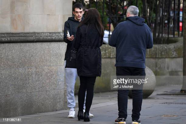 Alesha MacPhail's father Robert MacPhail leaves following the judge lifting the ban on his anonymity of the murderer on February 22 2019 in Glasgow...