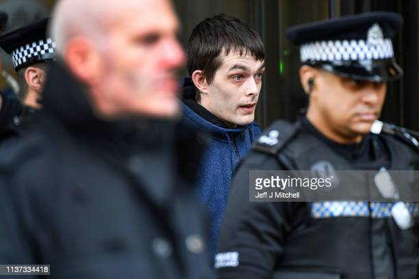 Alesha MacPhail's father Robert MacPhail leaves Glasgow High Court on March 21 2019 in Glasgow Scotland Aaron Campbell the sixteen year old teenager...