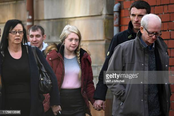 Alesha MacPhail's mother Georgina Lochrane arrives at Glasgow High Court on February 14 2019 in Glasgow Scotland Six year old Alesha MacPhail was...