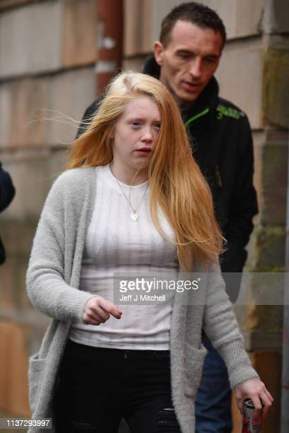 Alesha MacPhail's mother Georgina Lochrane arrives Glasgow High Court on March 21 2019 in GlasgowScotland Aaron Campbell the sixteen year old...