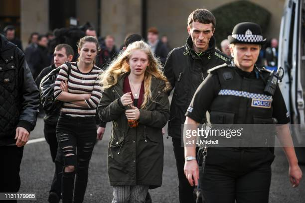 Alesha MacPhail's mother Georgina Lochrane leaves Glasgow High Court following the verdict delivered on February 21 2019 in Glasgow Scotland A...