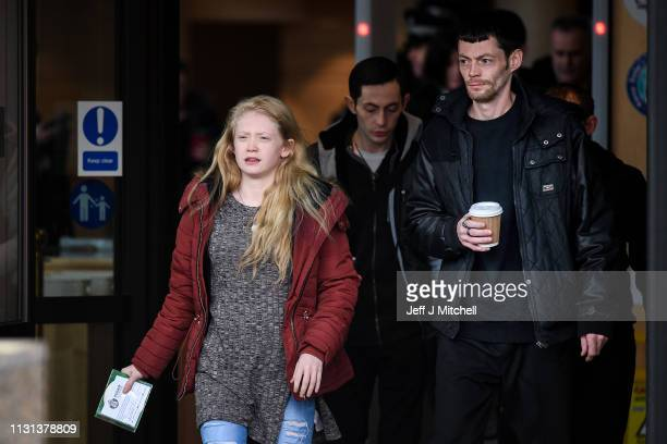 Alesha MacPhail's mother Georgina Lochrane leaves Glasgow High Court following the judge lifting the ban on his anonymity on February 22 2019 in...