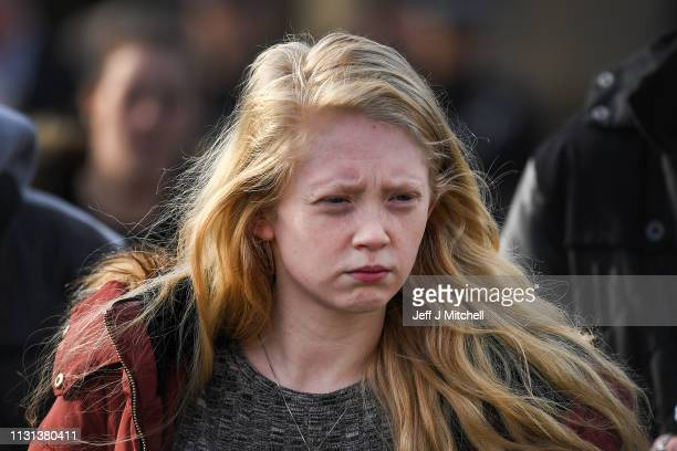 Alesha MacPhail's mother Georgina Lochrane leaves Glasgow High Court following the judge lifting the ban on the murderers anonymity on February 22,...