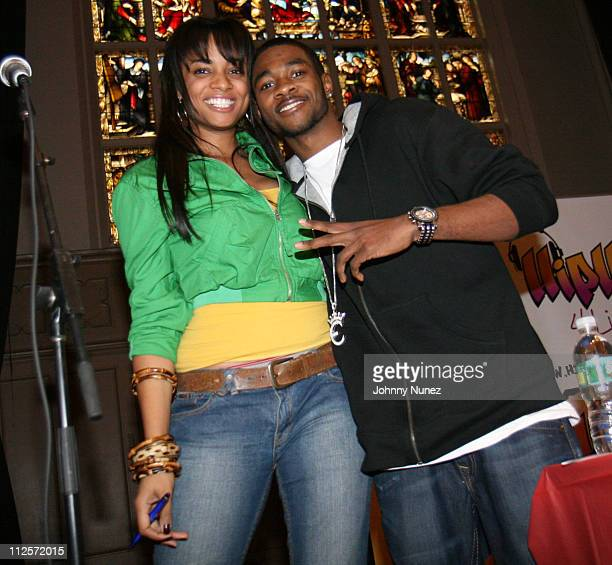 Alesha Renee and Sammie attends BET's RapItUp and Hip Hop 4 Life Youth Empowerment Week session at Erasmus High School on November 17 2007 in the...