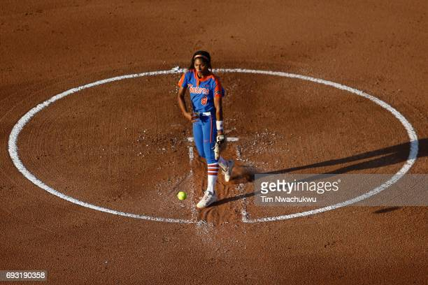 Aleshia Ocasio of the University of Florida throws a pitch to a University of Oklahoma batter during Game 2 of the Division I Women's Softball...