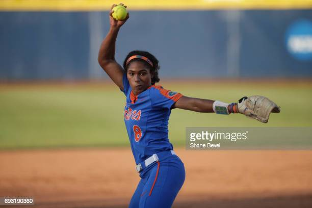 Aleshia Ocasio of the University of Florida winds up a pitch against the University of Oklahoma during Game 2 of the Division I Women's Softball...