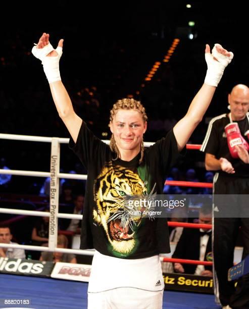 Alesia Graf of Germany celebrates winning the WIBF Bantamweight World Championship fight between Alesia Graf of Germany and Terri Lynn Cruz of USA...