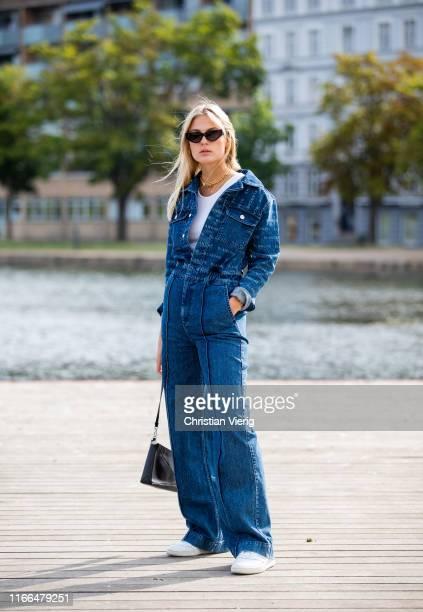 Alessa Winter is seen wearing denim overall outside Blanche during Copenhagen Fashion Week Spring/Summer 2020 on August 06, 2019 in Copenhagen,...