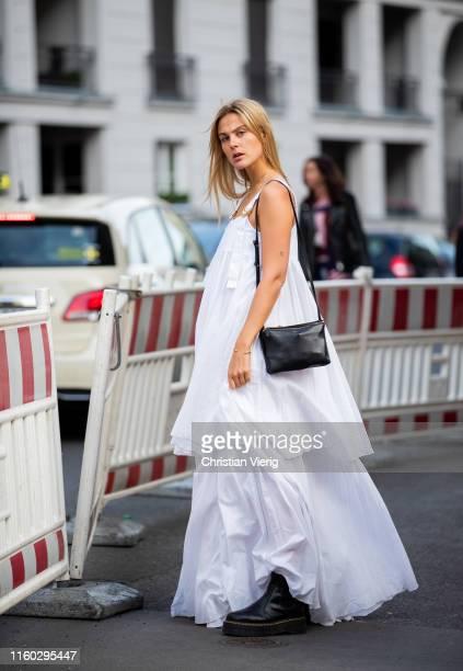 Alessa Winter is seen wearing white dress outside Nobi Talai during Berlin Fashion Week on July 04 2019 in Berlin Germany