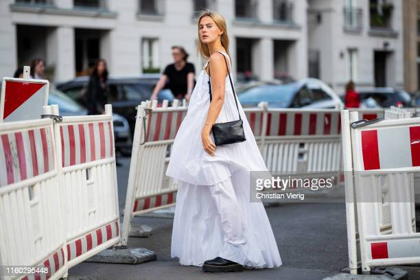 Alessa Winter is seen wearing white dress outside Nobi Talai during Berlin Fashion Week on July 04 2019 in Berlin Germany