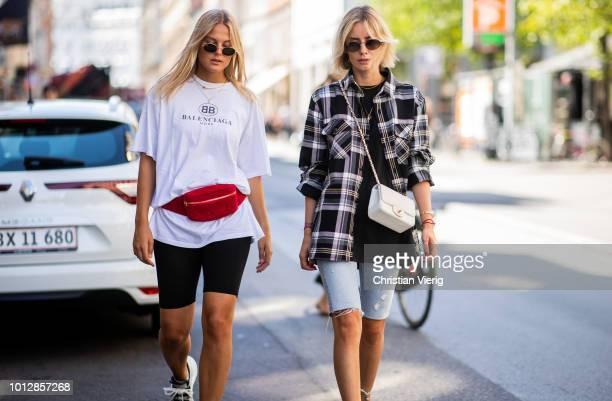 Alessa Winter wearing bike pants white Balenciaga tshirt red vevelt belt bag and wearing Samsoe Samsoe oversized checked shirt Balenciaga tshirt...
