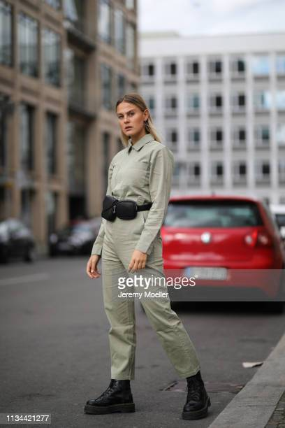 Alessa Winter wearing EvenOdd bag Edited overall Dr Martens Jadon shoes on March 07 2019 in Berlin Germany