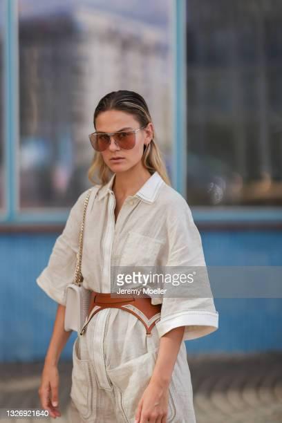 Alessa Winter wearing full Fendi look on June 27, 2021 in Berlin, Germany.