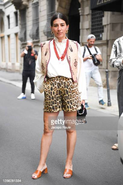 Alessandra Airò is seen arriving at the Four Season Hotel ahead of the Etro Fashion Show on July 15 2020 in Milan Italy