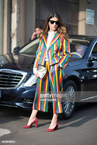Alessandra Airo poses wearing Gucci before the Gucci show during Milan Fashion Week Fall/Winter 2017/18 on February 22 2017 in Milan Italy