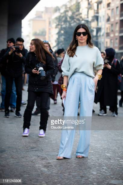 Alessandra Airo, wearing a light blue sweater and pants, is seen outside Max Mara on Day 2 Milan Fashion Week Autumn/Winter 2019/20 on February 21,...
