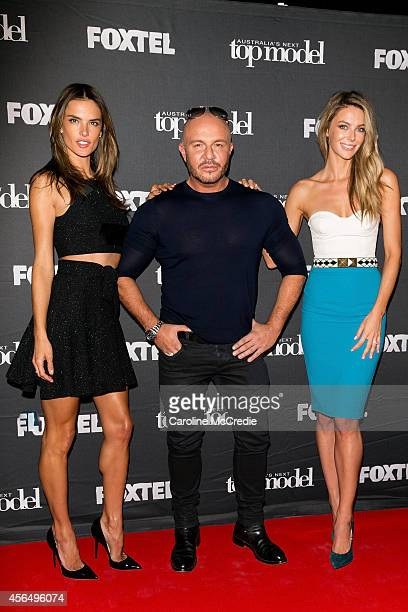 Alessandra Ambrosio Alex Perry and Jennifer Hawkins arrive at Australia's Next Top Model Elimination Set in Surry Hills on October 2 2014 in Sydney...