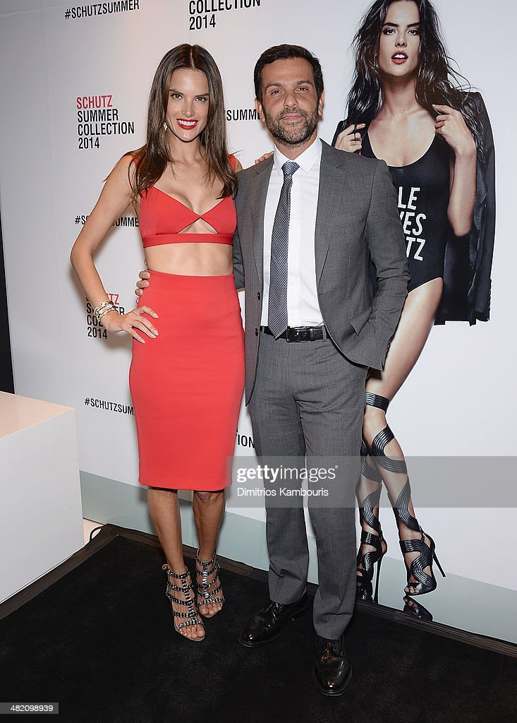 Alessandra Ambrosio and Alexandre Birman attend the Schutz Summer 2014 Collection Launch at Schutz on April 2, 2014 in New York City.