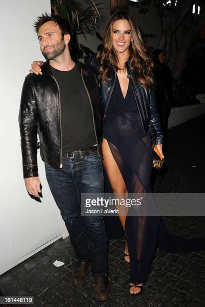 Alessandra Ambrosio and fiance Jamie Mazur attend the Warner Music Group 2013 Grammy celebration at Chateau Marmont on February 10 2013 in Los...