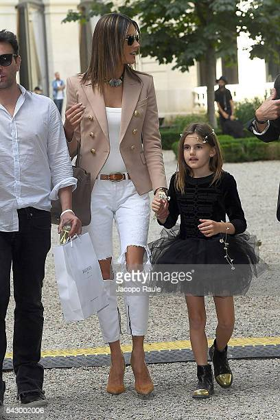 Alessandra Ambrosio and her daughter Anja Mazur are seen leving the Balmain Show during Paris Fashion Week Menswear Spring/Summer 2017 on June 25...