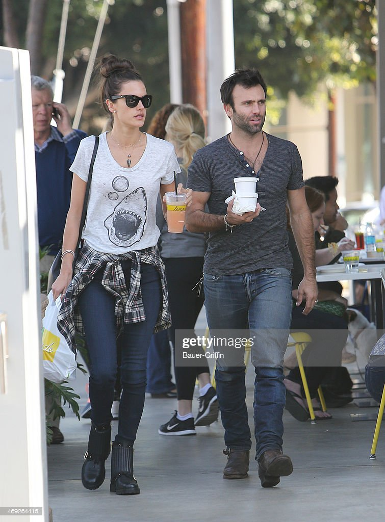 Alessandra Ambrosio and Jamie Mazur are seen on February 13, 2014 in Los Angeles, California.