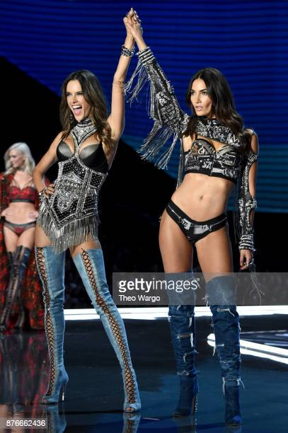 Alessandra Ambrosio and Lily Aldridge walk the runway during the 2017 Victoria's Secret Fashion Show In Shanghai at MercedesBenz Arena on November 20...
