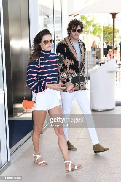Alessandra Ambrosio and Nicolo Oddi are seen during the 72nd annual Cannes Film Festival at on May 16, 2019 in Cannes, France.