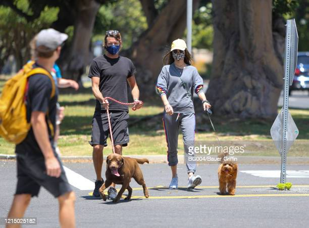 Alessandra Ambrosio and Nicolo Oddo are seen walking their dogs on May 24 2020 in Los Angeles California