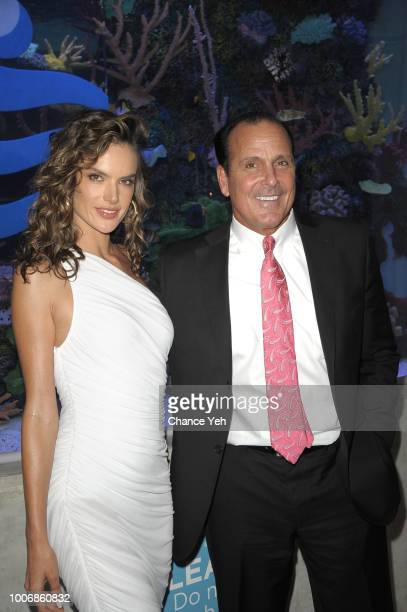 Alessandra Ambrosio and Ocean Resort Casino CEO Frank Leone attend HQ2 Beachclub at Ocean Resort Casino on July 28 2018 in Atlantic City New Jersey