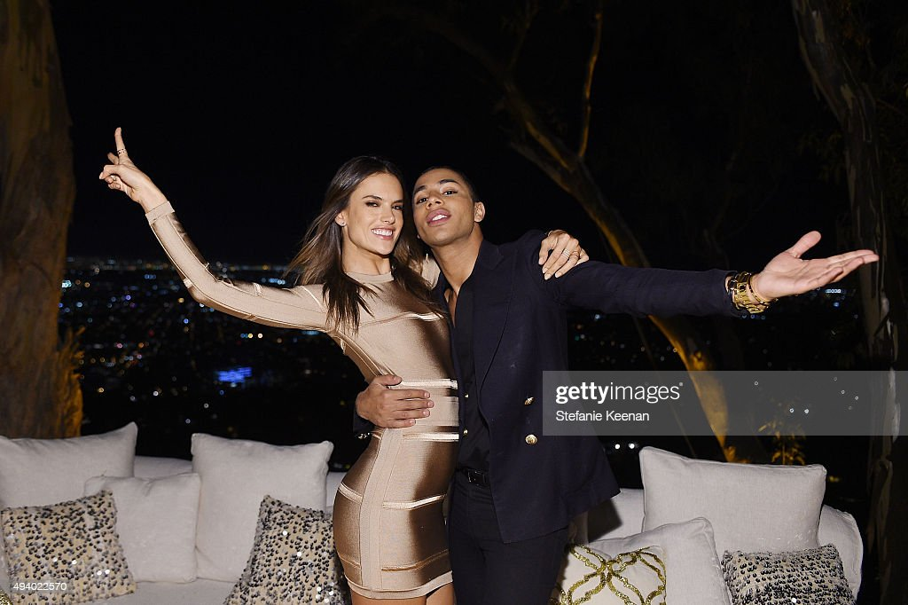 Alessandra Ambrosio and Olivier Rousteing attend Olivier Rousteing & Beats Celebrate In Los Angeles at Private Residence on October 23, 2015 in Los Angeles, California.