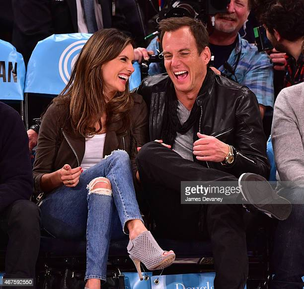 Alessandra Ambrosio and Will Arnett attend the Los Angeles Clippers vs New York Knicks game at Madison Square Garden on March 25 2015 in New York City