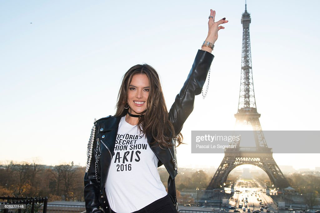 Alessandra Ambrosio attends a photocall for the Victoria's Secret Angels ahead of the annual fashion show at The Eiffel Tower, on November 29, 2016 in Paris, France.