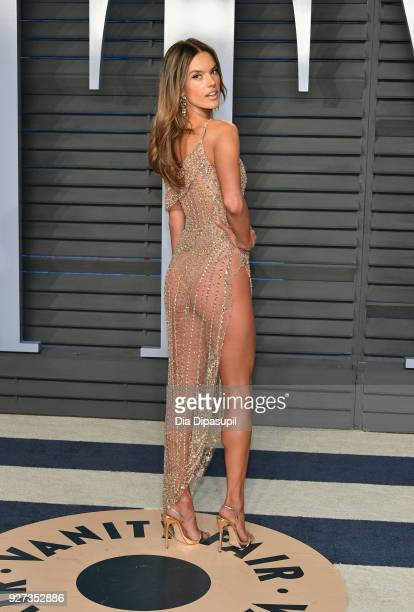 Alessandra Ambrosio attends the 2018 Vanity Fair Oscar Party hosted by Radhika Jones at Wallis Annenberg Center for the Performing Arts on March 4,...