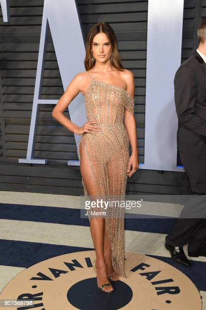 Alessandra Ambrosio attends the 2018 Vanity Fair Oscar Party hosted by Radhika Jones at the Wallis Annenberg Center for the Performing Arts on March...