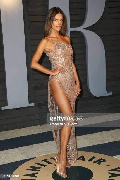 Alessandra Ambrosio attends the 2018 Vanity Fair Oscar Party hosted by Radhika Jones at Wallis Annenberg Center for the Performing Arts on March 4...