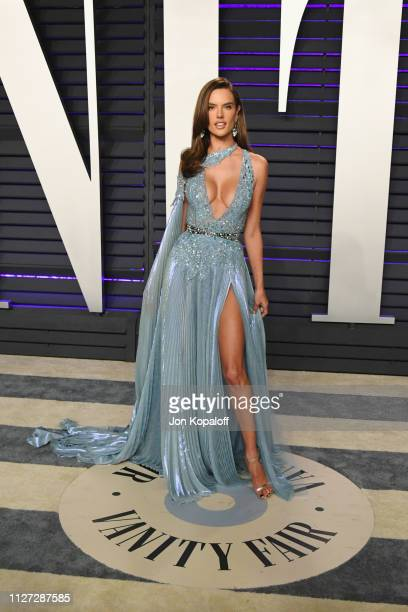 Alessandra Ambrosio attends the 2019 Vanity Fair Oscar Party hosted by Radhika Jones at Wallis Annenberg Center for the Performing Arts on February...