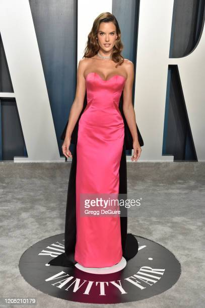Alessandra Ambrosio attends the 2020 Vanity Fair Oscar Party hosted by Radhika Jones at Wallis Annenberg Center for the Performing Arts on February...