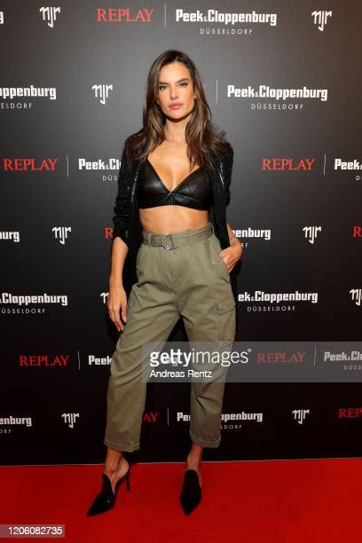 Alessandra Ambrosio attends the launch event for the new Capsule Collection Neymar Jr. X Replay at Weltstadthaus on February 13, 2020 in Duesseldorf,...